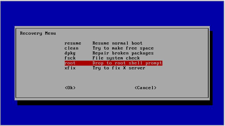 reset password recovery menu