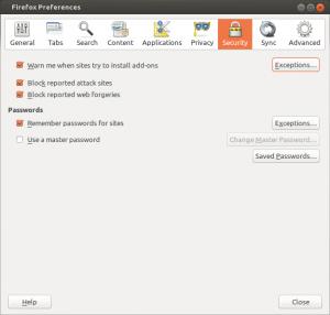 Préférences de Firefox - onglet Security